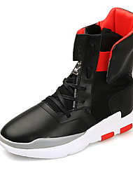cheap -Men's Shoes Leather Winter Fall Comfort Sneakers Zipper for Casual Outdoor Black Red Black/White