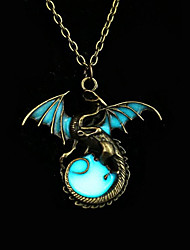 cheap -Men's Women's Dragon Circle Wings / Feather Animal Design Vintage Punk Illuminated Rock Luminous Pendant Necklace Bronze Luminous Stone