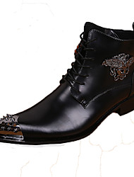cheap -Men's Novelty Shoes Nappa Leather Fall / Winter Comfort Boots Booties / Ankle Boots Black / Party & Evening