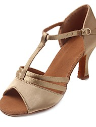 "Women's Latin Satin Sandal Heel Beginner Buckle Cuban Heel Beige 1"" - 1 3/4"" Customizable"