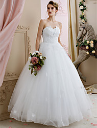 cheap -Ball Gown Sweetheart Floor Length Lace Tulle Wedding Dress with Beading by Yuanfeishani