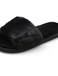 Feminino Sapatos Couro Ecológico Outono Inverno Conforto Chinelos e flip-flops Rasteiro Dedo Aberto Para Casual Preto Cinzento Vermelho