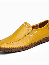 cheap -Men's Shoes Nappa Leather Spring / Fall Comfort Loafers & Slip-Ons Dark Blue / Yellow / Brown