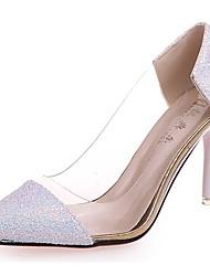 Недорогие -Жен. Обувь Блестки Осень Удобная обувь Обувь на каблуках На шпильке Заостренный носок Комбинация материалов Черный / Лиловый / Розовый