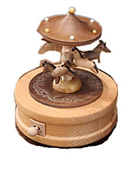 Boîte à musique Jouets Circulaire Cheval Carrousel Dessin Animé Bois 1 Pièces Non spécifié Anniversaire Cadeau