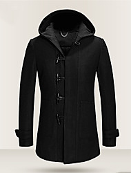cheap -Men's Daily Plus Size Vintage Punk & Gothic Winter Fall Coat,Solid Hooded Long Sleeve Regular Wool