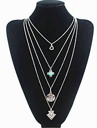 Mulheres Colares com Pendentes colares em camadas Forma Geométrica Turquesa Liga Básico Personalizado Estilo Boêmio Vintage Multi Camadas