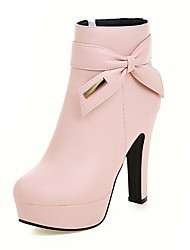 cheap -Women's Shoes Leatherette Fall Winter Fashion Boots Bootie Boots Chunky Heel Platform Round Toe Booties/Ankle Boots Bowknot Sequin Zipper