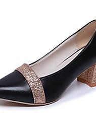 Недорогие -Жен. Обувь Полиуретан Осень Удобная обувь Обувь на каблуках На толстом каблуке Заостренный носок Комбинация материалов Золотой / Черный /