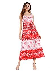 Ample Robe Femme Sortie Fleur U Profond Midi Sans Manches Polyester Eté Taille Haute Micro-élastique Moyen