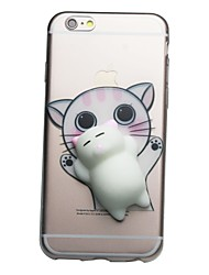 abordables -Para iPhone 7 iPhone 7 Plus Carcasa Funda Transparente Diseños Manualidades Blando Cubierta Trasera Funda Gato Dibujo 3D Suave TPU para
