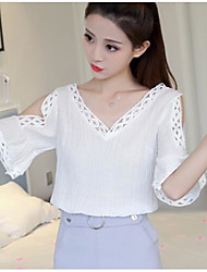 cheap -Women's Going out Cute Cotton Blouse - Solid Colored V Neck