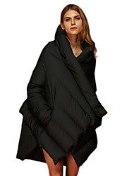 Damen Daunen Mantel,Standard Einfach Street Schick Ausgehen Lässig/Alltäglich Solide-Baumwolle Weiße Entendaunen Langarm