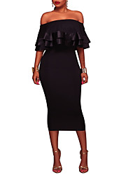 Women's Party Plus Size Sexy Vintage Sheath Dress,Solid Boat Neck Midi Short Sleeves Polyester Spring Fall High Rise Micro-elastic Medium
