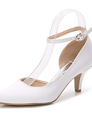 Women S Shoes Silk Spring Fall Basic Pump Ankle Strap Wedding Stiletto Heel Pointed Toe Buckle Gore White Light Pink