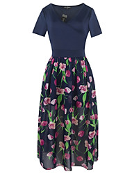 Women's Party Going out Vintage Simple Cute Sheath Swing Dress,Floral Patchwork V Neck Maxi Short Sleeves Cotton Polyester Summer Fall