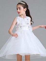 Ball Gown Short / Mini Flower Girl Dress - Organza Sleeveless Jewel Neck with Sequin Flower(s) Sash / Ribbon Ruched Zipper by YDN