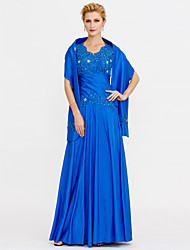 cheap -A-Line Straps Floor Length Chiffon Lace Mother of the Bride Dress with Beading Lace by LAN TING BRIDE®