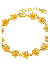 cheap -Women's Gold Plated Floral Luxury Flower Chain Bracelet - Floral Luxury Flower Style Gold Bracelet For Wedding Gift