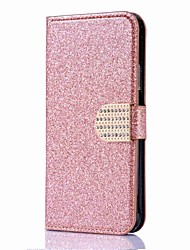 cheap -For iPhone X iPhone 8 Case Cover Wallet Card Holder Rhinestone with Stand Flip Magnetic Full Body Case Solid Color Hard PU Leather for