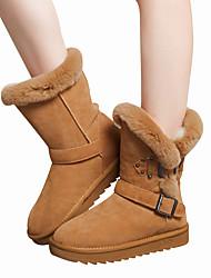preiswerte -Damen Schuhe Echtes Leder Nappaleder Leder Winter Komfort Schneestiefel Modische Stiefel Pelzfutter Stiefel Flacher Absatz Runde Zehe