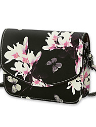 Women Bags All Seasons PU Shoulder Bag Flower for Casual Office & Career White Black
