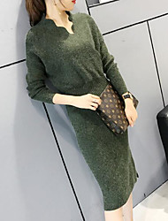 Women's Going out Bodycon Dress,Solid Round Neck Knee-length Long Sleeves Wool Fall Winter Mid Rise Inelastic Thick
