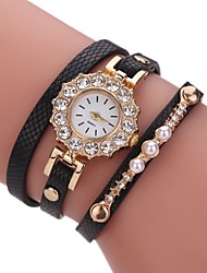 cheap -Women's Simulated Diamond Watch Bracelet Watch Fashion Watch Chinese Quartz Imitation Diamond PU Band Casual Pearls Elegant Black White