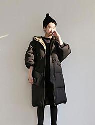 Damen Daunen Mantel Einfach Ausgehen Solide-Baumwolle Polypropylen Langarm