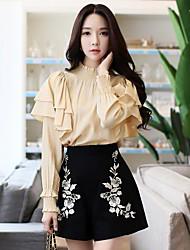 Camicia Da donna Per uscire Casual Vintage Semplice Romantico Autunno Inverno,Tinta unita Girocollo Poliestere Manica lunga Medio spessore