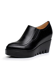 Women's Heels Formal Shoes Spring Fall Real Leather Office & Career Wedge Heel Black 2in-2 3/4in