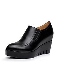 Damen High Heels formale Schuhe Frühling Herbst Echtes Leder Keilabsatz Schwarz 5 - 7 cm