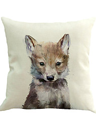1 pcs mignon jeune loup animal impression taie d'oreiller 45 * 45 cm nouveauté animaux motif taie d'oreiller