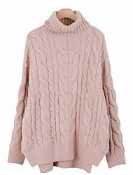 preiswerte -Damen Langarm Pullover-Solide Rollkragen