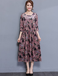 cheap -Women's Plus Size Daily / Going out Street chic Loose Dress Print