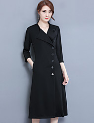 Gaine Robe Femme Sortie Grandes Tailles Chic de Rue,Couleur Pleine Col Rond Claudine Midi Manches Longues Polyester Automne Taille Normale