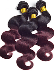 Virgin Indian Ombre Hair Weaves Body Wave Hair Extensions 3 Pieces Black/Dark Wine
