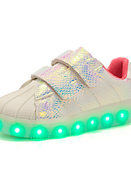cheap -Girls' Shoes Synthetic Fall Winter Light Up Shoes Comfort Sneakers Sparkling Glitter LED Lace-up For Casual Party & Evening Blushing Pink