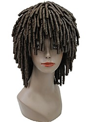 Men Synthetic Wig Capless Medium Length Afro Blonde Chestnut Brown Medium Brown African American Wig Crochet Faux Dreads Celebrity Wig