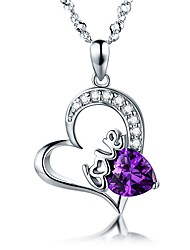 cheap -Women's Heart AAA Cubic Zirconia Cubic Zirconia Silver Plated Pendant Necklace  -  Love Heart Wings / Feather Purple Necklace For Party