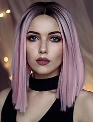 abordables -Perruque Lace Front Synthétique Droit Cheveux Colorés Raie Centrale Rose Femme Dentelle frontale Perruque Naturelle Court Cheveux