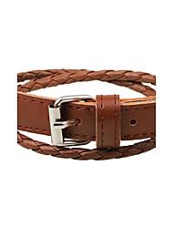 Homme Femme Bracelets en cuir Ajustable Fait à la main Cuir Forme de Cercle Bouton Bijoux Pour Décontracté Sortie