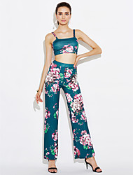 Women's Going out Casual/Daily Sexy Vintage Bare Midriff Summer Fall Tank Top Wide Leg Pants SuitsFloral Strap Backless Sleeveless Backless