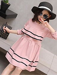 Girl's Casual/Daily Solid Dress,Cotton Polyester Spring Fall Long Sleeve