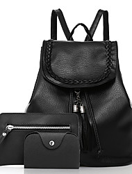 cheap -Women Bags PU Bag Set Pockets for Casual Office & Career All Seasons Black