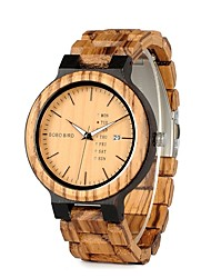 Men's Fashion Watch Wrist watch Wood Watch Chinese Quartz Calendar / date / day Chronograph Water Resistant / Water Proof Wood Band Charm