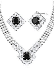 Jewelry Set Crystal Rhinestone Unique Design Hip-Hop Classic Crystal Platinum Plated Gold Plated Geometric Square Cut1 Necklace 1 Pair of