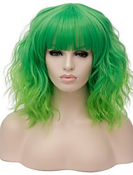 cheap -Women Synthetic Wig Capless Short Water Wave Black/Dark Green Bright Purple Gold Pink Silver Purple Green Halloween Wig Costume Wig