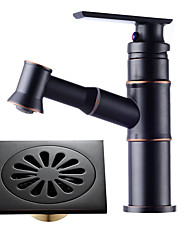 Centerset Retractable Cable Ceramic Valve Single Handle One Hole Oil-rubbed Bronze , Bathroom Sink Faucet
