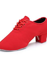 Для женщин Джаз Синтетика На каблуках Для закрытой площадки На низком каблуке Черный Красный Персонализируемая